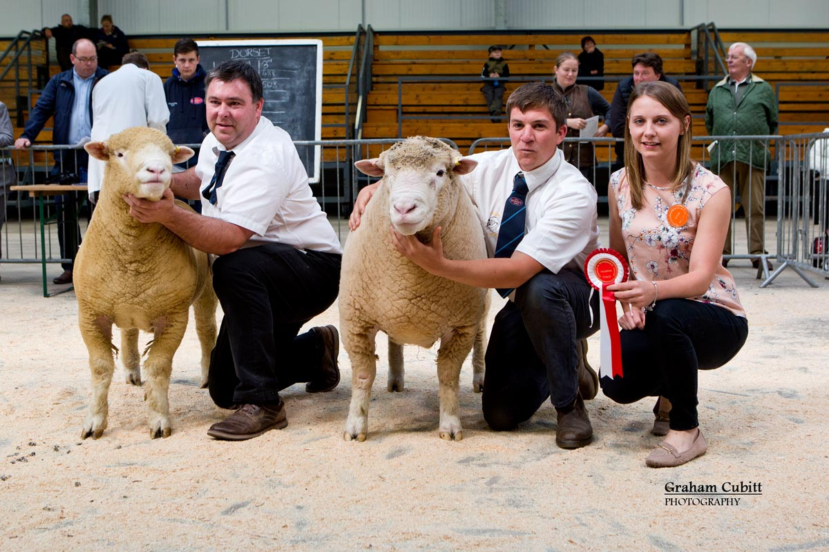 From left Thomas Wright with the Reserve Champion Male, Richard Rossiter with the Male Champion & Judge, Sian Downes